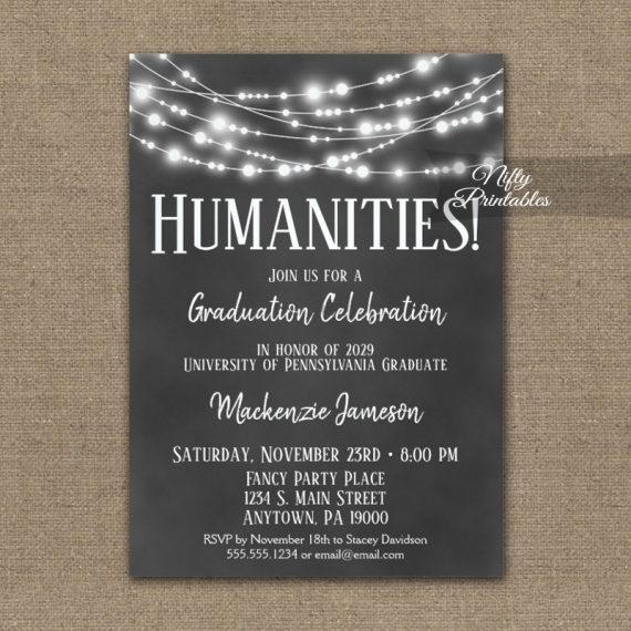 Humanities Graduation Invitation Chalkboard Lights PRINTED