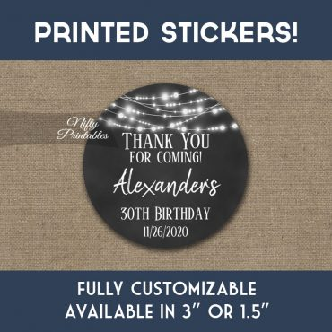 Birthday Stickers Chalkboard Lights Thank You Favors PRINTED