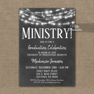 Ministry Graduation Invitation Chalkboard Lights PRINTED