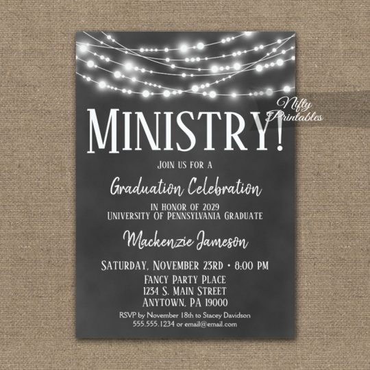 Ministry Graduation Invitations Chalkboard Lights PRINTED