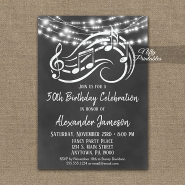 Birthday Invitation Music Chalkboard Lights PRINTED