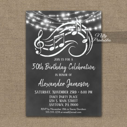 Birthday Invitations Music Chalkboard Lights PRINTED