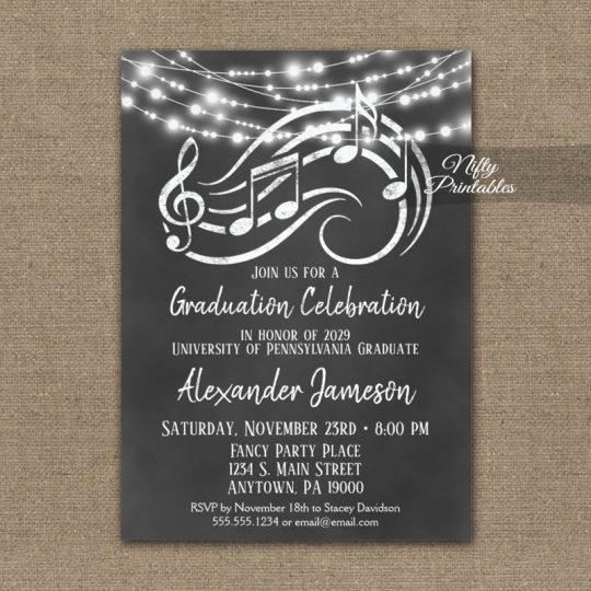 Graduation Party Invitations Music Chalkboard Lights PRINTED