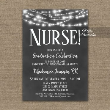 Nurse Graduation Invitations Chalkboard Lights PRINTED
