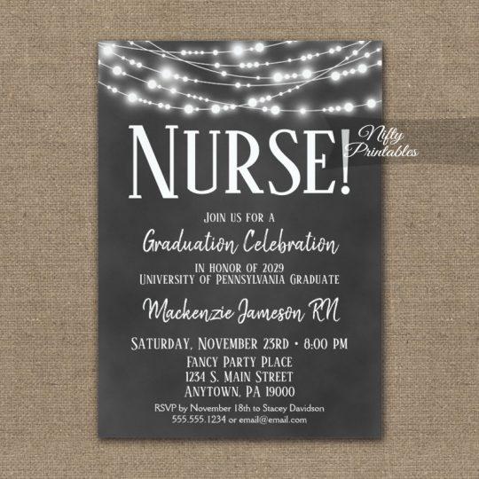 Nurse Graduation Invitations Chalkboard Lights PRINTED