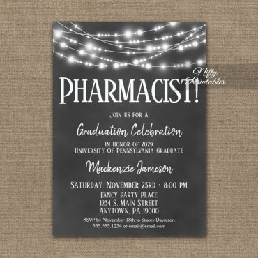 Pharmacist Graduation Invitation Chalkboard Lights PRINTED