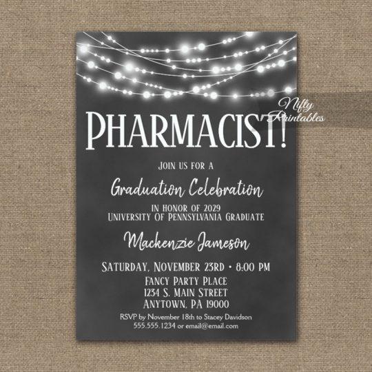Pharmacist Graduation Invitations Chalkboard Lights PRINTED