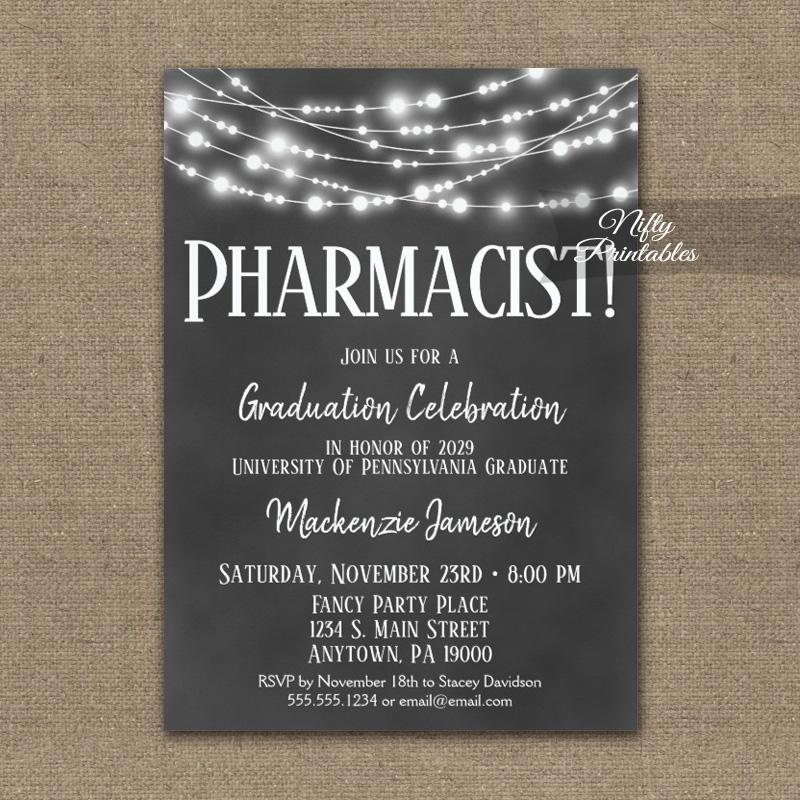 pharmacist graduation invitation chalkboard lights printed