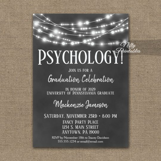 Psychology Graduation Invitations Chalkboard Lights PRINTED