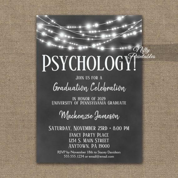 Psychology Graduation Invitation Chalkboard Lights PRINTED