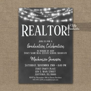 Realtor Graduation Invitations Chalkboard Lights PRINTED