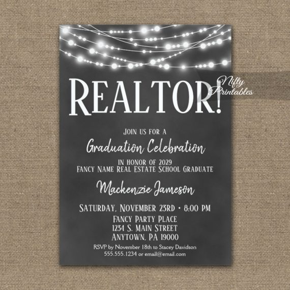 Realtor Graduation Invitation Chalkboard Lights PRINTED