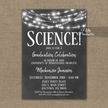 Science Graduation Invitation Chalkboard Lights PRINTED