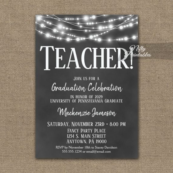 Teacher Graduation Invitation Chalkboard Lights PRINTED