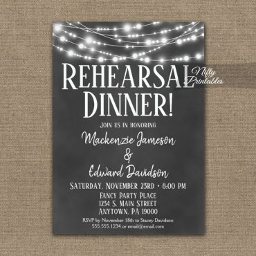 Wedding Rehearsal Dinner Invitation Chalkboard Lights PRINTED