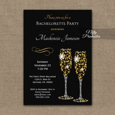 Bachelorette Party Invitation Champagne Glam Sparkle PRINTED