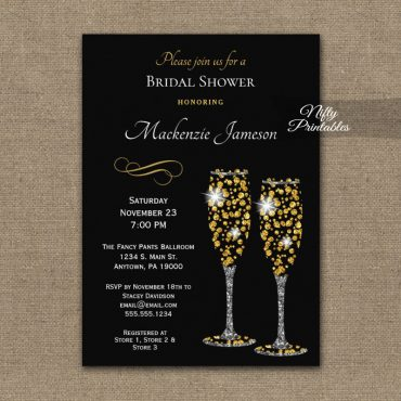 Bridal Shower Invitation Champagne Glam Sparkle PRINTED