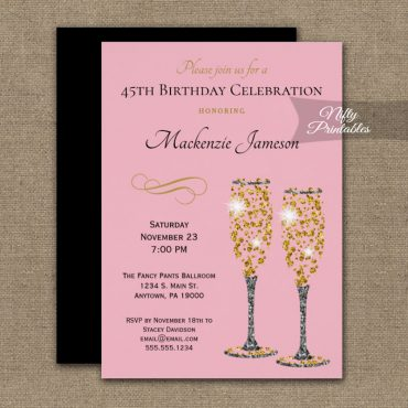 Birthday Invitation Pink Champagne Glam PRINTED