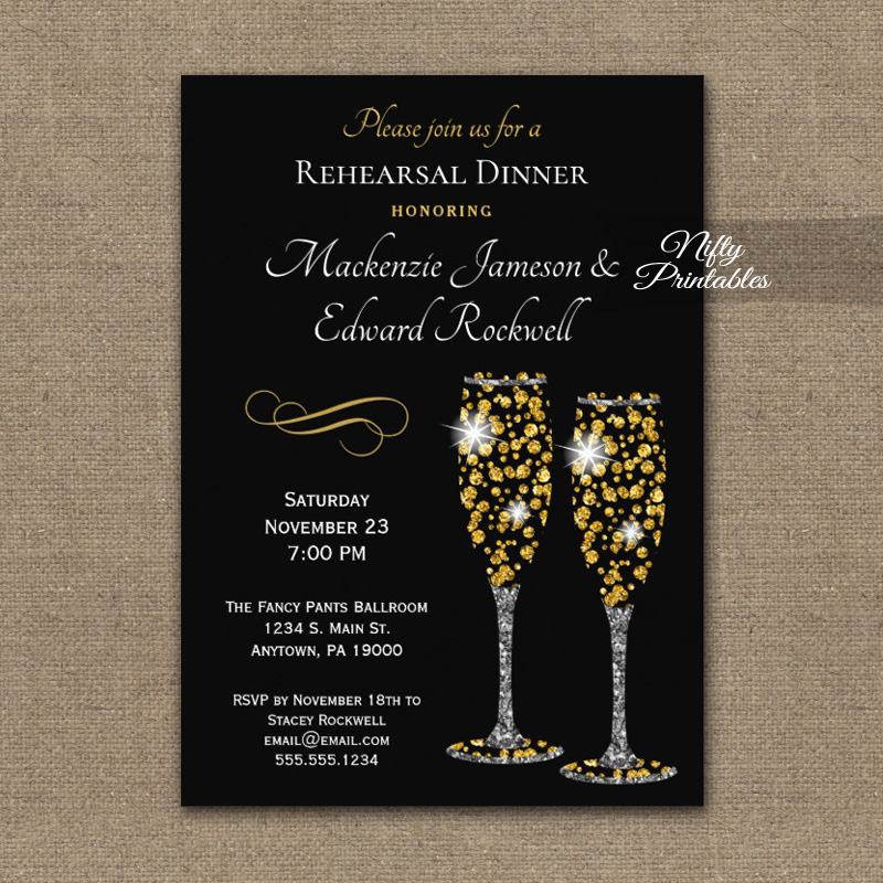 Rehearsal Dinner Invitations Champagne Glam Sparkle PRINTED