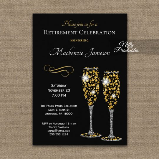 Retirement Invitations Champagne Glam Sparkle PRINTED