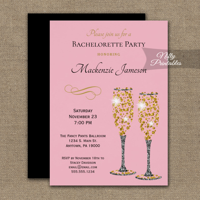 Bachelorette Party Invitations Pink Champagne Glam PRINTED