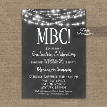 Communication Degree Graduation Invitation Chalkboard Lights PRINTED