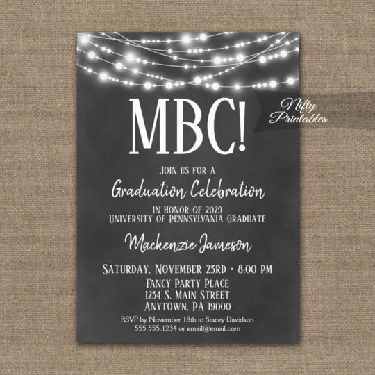 Communication Degree Graduation Invitations Chalkboard Lights PRINTED