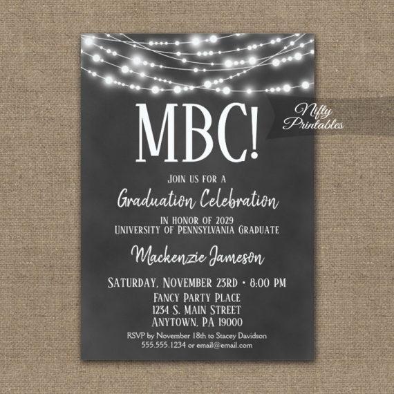 Communication Degree Graduation Invitation Chalkboard Lights PRINTED