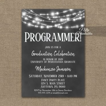 Computer Programmer Graduation Invitations Chalkboard Lights PRINTED