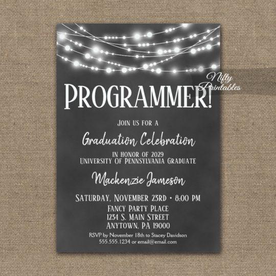 Computer Programmer Graduation Invitations Chalkboard Lights PRINTED