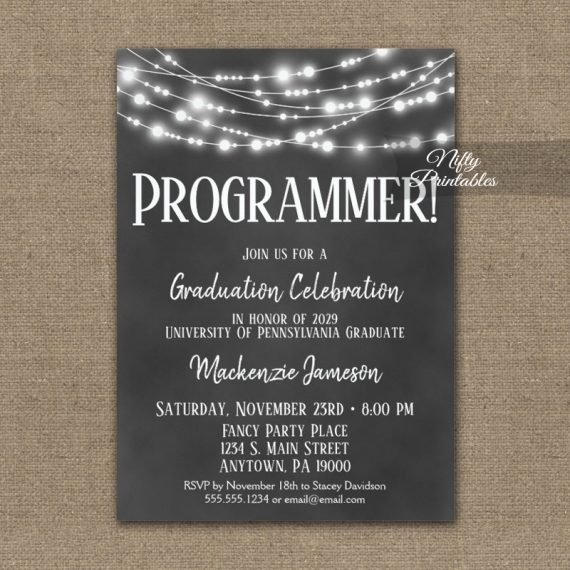 Computer Programmer Graduation Invitation Chalkboard Lights PRINTED