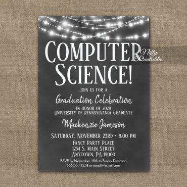 Computer Science Graduation Invitation Chalkboard Lights PRINTED