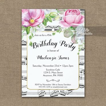Birthday Invitation Music Floral PRINTED