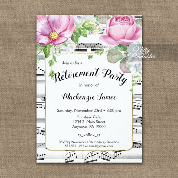 Music Floral Retirement Invitation PRINTED