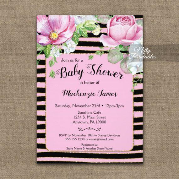 Baby Shower Invitation Floral Pink Black Horizontal Stripes PRINTED