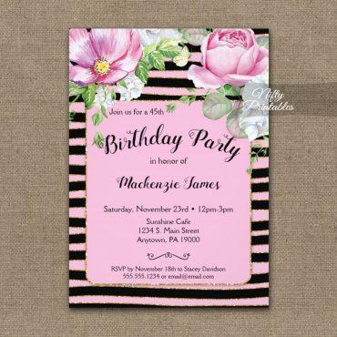Birthday Invitation Floral Pink Black Horizontal Stripes PRINTED