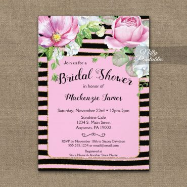 Bridal Shower Invitation Floral Pink Black Horizontal Stripes PRINTED