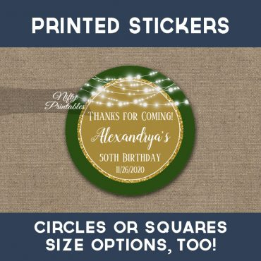 Birthday Stickers Gold Green Glowing Lights Thank You Favors PRINTED