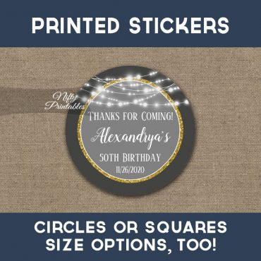 Birthday Stickers Gray Gold Glowing Lights Thank You Favors PRINTED