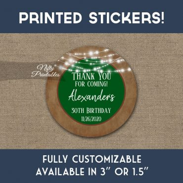 Birthday Stickers Green Brown Lights Thank You Favors PRINTED