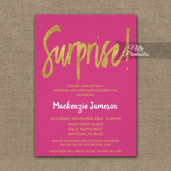 Surprise Birthday Party Invitation Hot Pink Gold Script PRINTED