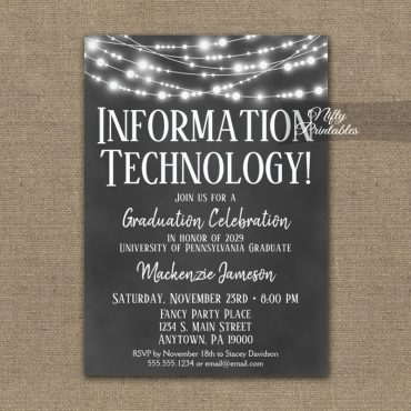 Information Technology Graduation Invitation Chalkboard Lights PRINTED