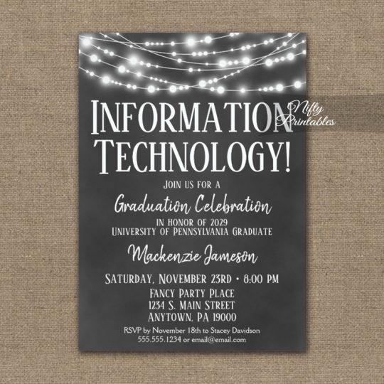 Information Technology Graduation Invitations Chalkboard Lights PRINTED