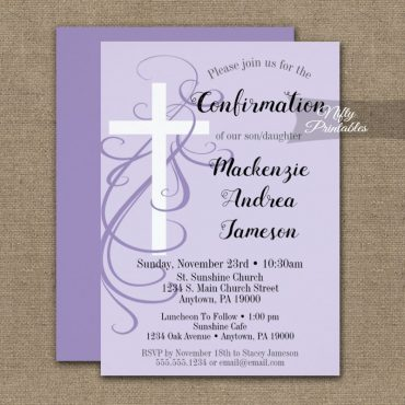 Confirmation Invitation Lavender Swirly Cross PRINTED