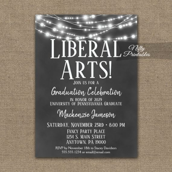 Liberal Arts Graduation Invitation Chalkboard Lights PRINTED