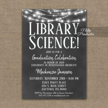 Library Science Graduation Invitation Chalkboard Lights PRINTED