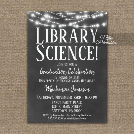 Library Science Graduation Invitations Chalkboard Lights PRINTED