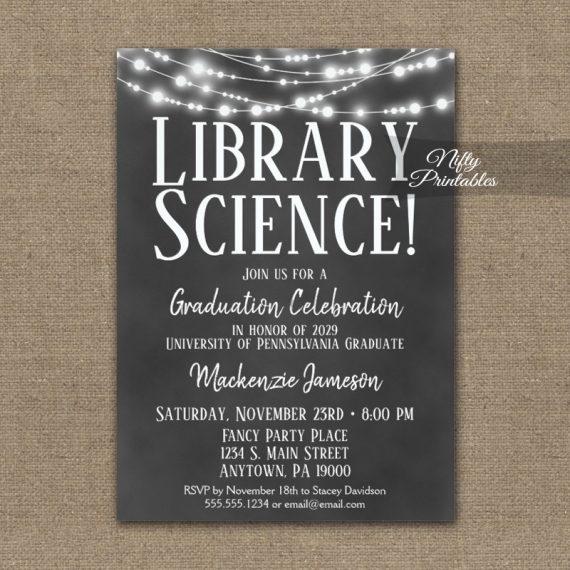 Library Science Graduation Invitation Chalkboard Lights PRINTED