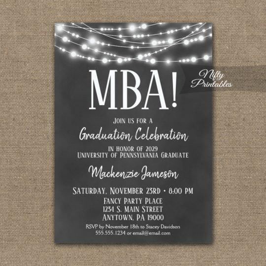 MBA Graduation Invitations Chalkboard Lights PRINTED