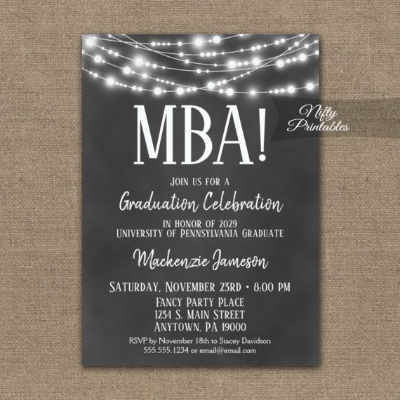 MBA Graduation Invitation Chalkboard Lights PRINTED